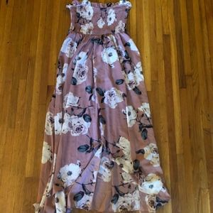 Dresses & Skirts - Strapless floral maxi dress size S